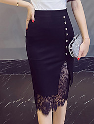 cheap -Women's Going out Knee-length Skirts,Simple Vintage Bodycon Lace Cut Out Solid All Seasons