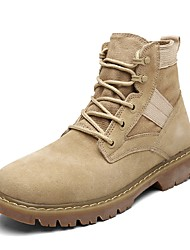 Men's Shoes Suede Fall Combat Boots Boots Lace-up For Casual Khaki Brown Black