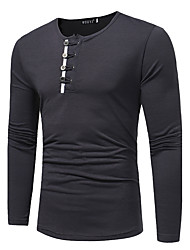 Men's Plus Size Casual/Daily Simple Cute Chinoiserie Fall Winter T-shirt,Solid Round Neck Long Sleeves Cotton Medium