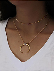 cheap -Women's Layered Necklace  -  Moon Fashion Gold, Silver Necklace For Daily, Casual