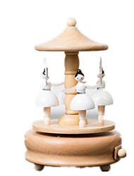 cheap -Music Box Wood Horse Carousel Dancing Castle in the Sky Unisex Gift