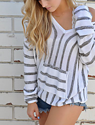 cheap -Women's Daily Going out Cute Sexy Solid Round Neck Pullover, Long Sleeves Winter Fall Cotton