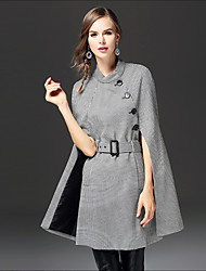 cheap -FRMZ Women's Daily Going out Street chic Winter Fall Coat,Houndstooth Stand ¾ Sleeve Long Cotton Others