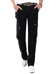 Homme simple Taille Normale non élastique Salopette Pantalon,Droite Couleur Pleine