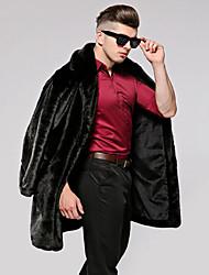 Men's Party Daily Plus Size Work Club Simple Vintage Casual Winter Fall Fur Coat,Solid Notch Lapel Long Sleeve Long Faux Fur Cotton