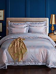 preiswerte -Bettbezug-Sets Geometrisch 4 Stück Polyester  / Leinen Mischung Jacquard Polyester  / Leinen Mischung 1 Stk. Bettdeckenbezug 2 Stk.