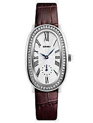baratos -SKMEI Mulheres Relógio de Pulso Japanês Impermeável / Legal Couro Banda Luxo / Fashion / Elegante Preta / Branco / Vermelho