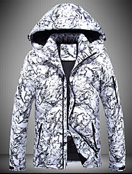 Standard Piumino Da uomo,Cappotto Sensuale Semplice Moda città Per uscire Casual Camouflage Poliestere Piumino in piuma d'oca bianca