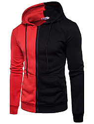 Men's Plus Size Sports Going out Casual Active Street chic Punk & Gothic Hoodie Solid Color Block Hooded Micro-elastic Cotton Nylon Long