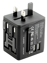 Universal Travel Adapter 2.1A 2 USB Charging Ports Worldwide All in One Universal Power Converter Wall Charger