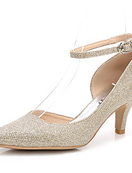 preiswerte -Damen Schuhe Glanz Frühling / Herbst Pumps / Knöchelriemen Hochzeit Schuhe Konischer Absatz Spitze Zehe Schnalle / Elastisch Gold / Silber