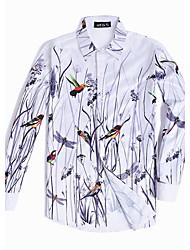 billige -Herre - Blomstret Dyr Kineseri Plusstørrelser Skjorte