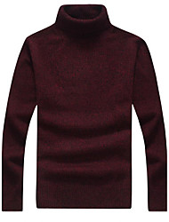 cheap -Men's Daily Casual Regular Pullover,Solid Turtleneck Long Sleeves Wool Cotton Winter Fall Medium Micro-elastic
