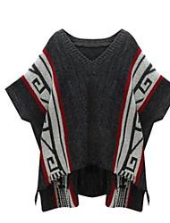 preiswerte -Damen Standard Pullover-Strand Einfarbig V-Ausschnitt Kurzarm Andere Frühling Sommer Mittel Mikro-elastisch