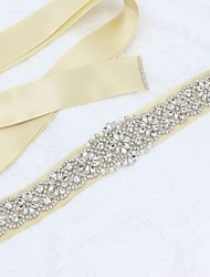 cheap -Satin / Tulle Wedding / Special Occasion Sash With Rhinestone / Imitation Pearl Sashes