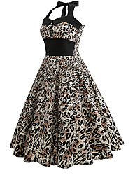 cheap -Women's Sheath Swing Dress - Leopard High Rise Halter