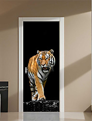 cheap -2pcs/set Ferocious Tiger Wall Stickers DIY Mural Bedroom Home Decor Poster PVC Waterproof Animal Door Sticker Lmitation 3D Remove for Living Kids Room