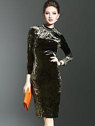 baratos -Mulheres Moda de Rua / Sofisticado Tubinho / Bainha Vestido Sólido Colarinho Chinês Altura dos Joelhos