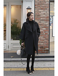 Women's Going out Work Street chic Fall Winter Coat,Solid Notch Lapel Long Sleeve Long Wool