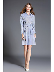 cheap -SHE IN SUN Women's Daily Chinoiserie Shirt Dress,Striped Shirt Collar Above Knee Long Sleeves Polyester Spring Fall High Rise Inelastic Medium