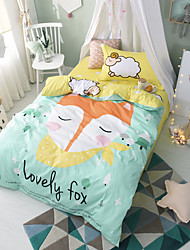 cheap -Duvet Cover Sets Cartoon 3 Piece Cotton Reactive Print Cotton 1pc Duvet Cover 1pc Sham 1pc Flat Sheet