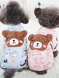 Cane Tuta Abbigliamento per cani Casual Tenere al caldo Cartoni animati Blu Rosa