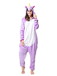 Kigurumi Pajamas Unicorn Leotard/Onesie Festival/Holiday Animal Sleepwear Halloween Purple Animal Flannel Kigurumi For Unisex Halloween