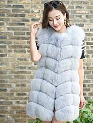 Women's Casual/Daily Sophisticated Fall Winter Fur Coat,Solid V Neck Sleeveless Regular Fox Fur