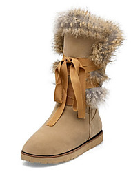 cheap -Women's Shoes Suede Fall Winter Comfort Novelty Snow Boots Fashion Boots Boots Flat Heel Round Toe Mid-Calf Boots Feather Lace-up For