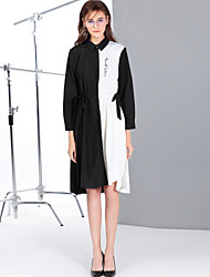 Mary Yan & Yu Women's Daily Going out Cute Street chic A Line Dress,Solid Floral Shirt Collar Midi Knee-length Long Sleeves Polyester Winter Fall Mid