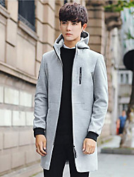 Men's Daily Simple Casual Winter Fall Coat,Letter Hooded Long Sleeve Long Others