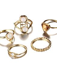 Homme Femme Ensemble d'anneaux Géométrique Mode Vintage Bohême Style Punk Elegant Cristal Alliage Forme Géométrique Forme de Triangle