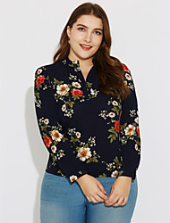 cheap -Going out Work Plus Size Street chic Spring Summer Blouse,Floral Stand Long Sleeve Polyester Thin