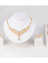 baratos -Mulheres Diamante sintético Chapeado Dourado Formato de Folha Conjunto de jóias Brincos / Colares / Braceletes - Clássico / Estilo simples