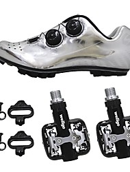 cheap -SIDEBIKE Mountain Bike Shoes / Bike Shoes With Pedals Carbon Fiber Anti-Slip, Wearable, Breathability Cycling Black / Silver Men's / Synthetic Microfiber PU