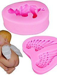 cheap -2PCS/Set Sleeping Baby And Angel Wing Shape 3D Silicone Cake Mold