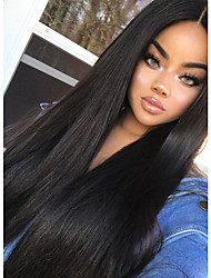 cheap -Remy Human Hair Full Lace Wig Indian Hair Straight 180% Density 100% Hand Tied Women's Long Human Hair Lace Wig