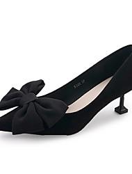 Women's Heels Comfort Summer PU Dress Bowknot Kitten Heel Red Black 1in-1 3/4in