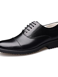 cheap -Men's Shoes Leather Spring Fall Formal Shoes Comfort Oxfords Lace-up for Office & Career Black