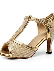 Women's Latin Glitter PU Heel Indoor Buckle Splicing Gold Black Silver Gray Purple Customizable