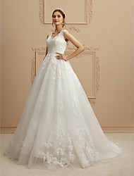 cheap -A-Line V-neck Chapel Train Lace Tulle Wedding Dress with Beading Appliques Buttons by LAN TING BRIDE®