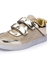 Boys' Shoes Synthetic Microfiber PU Fall Winter Light Up Shoes Comfort Sneakers Magic Tape For Casual Party & Evening Silver Gold