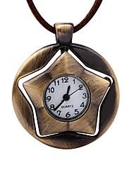 baratos -Homens Relógio de Bolso Chinês Mecânico - de dar corda manualmente Couro Banda Vintage Criativo Marrom
