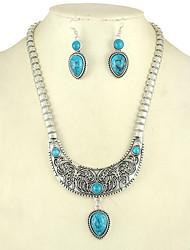 cheap -Women's Turquoise Rhinestone Turquoise Luxury Jewelry Set Earrings Necklace - Luxury Fashion Others Black Red Blue Stud Earrings Pendant