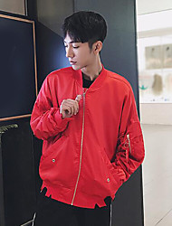 Men's Casual/Daily Simple Fall Jacket,Letter Stand Long Sleeve Regular Others