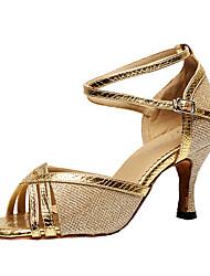 baratos -Mulheres Gliter / Couro Ecológico Salto Presilha / Recortes Personalizável Sapatos de Dança Preto / Prata / Roxo / Interior