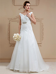 cheap -A-Line V Neck Court Train Lace Tulle Custom Wedding Dresses with Crystal Detailing Sashes / Ribbons by LAN TING BRIDE®