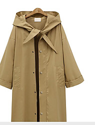 Women's Going out Simple Casual Fall Trench Coat,Solid Hooded Long Sleeve Long Cotton