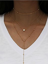 cheap -Women's Layered Layered Necklace  -  Heart Fashion, Multi Layer Gold, Silver Necklace For Daily, Casual
