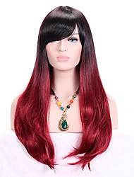 cheap -Synthetic Wig Wavy With Bangs With Bangs Dark Roots Ombre Hair Red Women's Capless Cosplay Wig Long Synthetic Hair